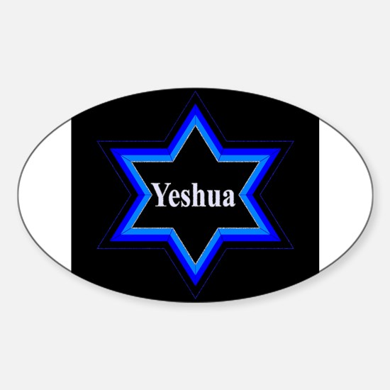 Yeshua Star of David (Blk) Oval Decal