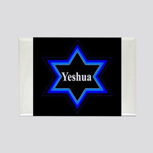 Yeshua Star of David (Blk) Rectangle Magnet