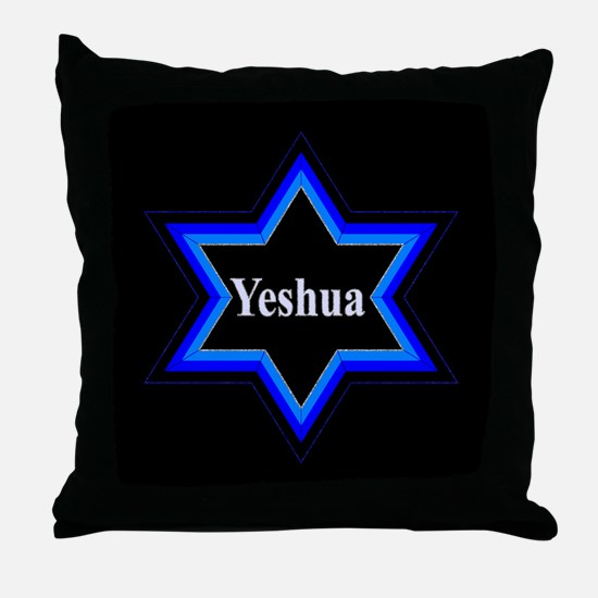 Yeshua Star of David (Blk) Throw Pillow