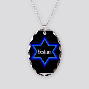 Yeshua Star of David (Blk) Necklace Oval Charm