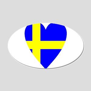 HEART FOR SWEDEN 22x14 Oval Wall Peel