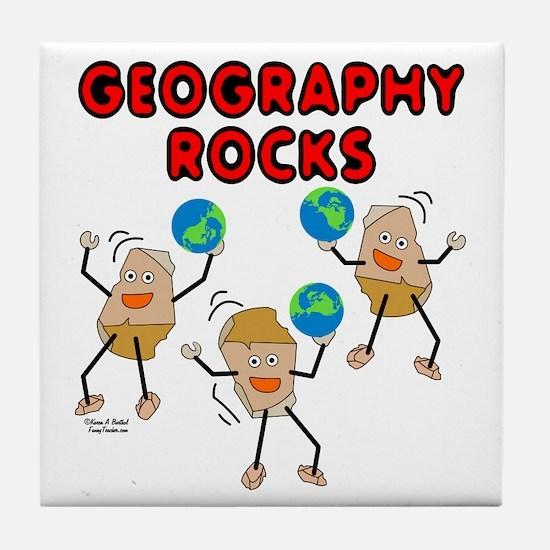 Three Geography Rocks Tile Coaster