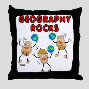 Three Geography Rocks Throw Pillow