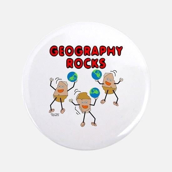 "Three Geography Rocks 3.5"" Button"