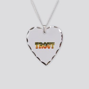 Brook Trout Fly Fishing Catch Necklace Heart Charm