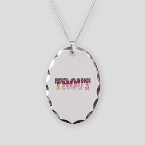 Rainbow TROUT Necklace Oval Charm