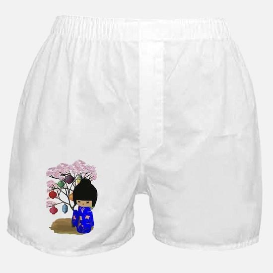 Blue Kawaii Kokeshi Doll Boxer Shorts