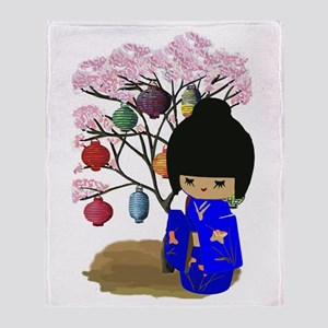 Blue Kawaii Kokeshi Doll Throw Blanket