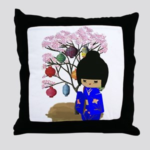 Blue Kawaii Kokeshi Doll Throw Pillow