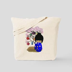 Blue Kawaii Kokeshi Doll Tote Bag