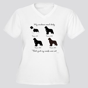 4 Newfoundlands Women's Plus Size V-Neck T-Shirt