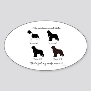 4 Newfoundlands Sticker (Oval)