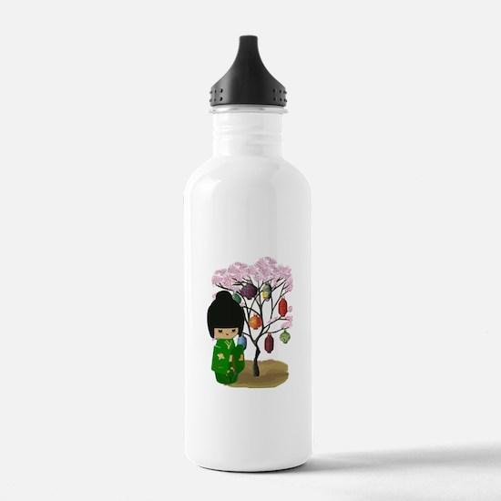 Green Kawaii Kokeshi Doll Water Bottle