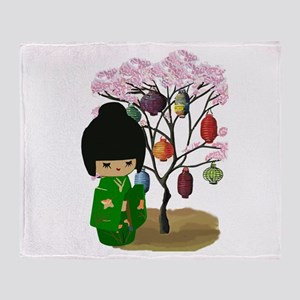 Green Kawaii Kokeshi Doll Throw Blanket