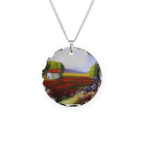 LANDSCAPE PAINTING Necklace Circle Charm