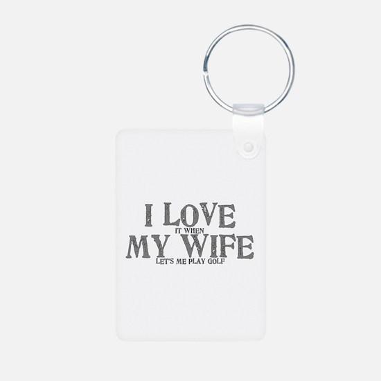 I love my wife golf funny Keychains