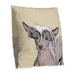 Chinese Crested (Hairless) Burlap Throw Pillow