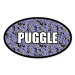 Floral Puggle Sticker (Oval)