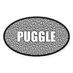 Silver Puggle Sticker (Oval)
