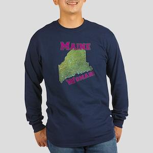 Maine Woman Long Sleeve Dark T-Shirt