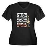 GUNS Women's Plus Size V-Neck Dark T-Shirt