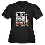 GUNS Women's Plus Size V-Neck Dark T-Shirt