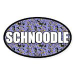 Blue Floral Schnoodle Oval Sticker