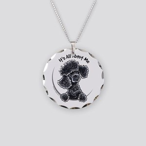 Black Poodle Lover Necklace Circle Charm