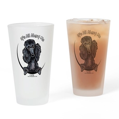 Black Standard Poodle IAAM Drinking Glass