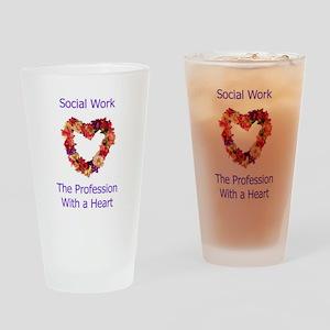 Social Work Heart Pint Glass