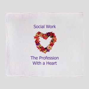 Social Work Heart Throw Blanket
