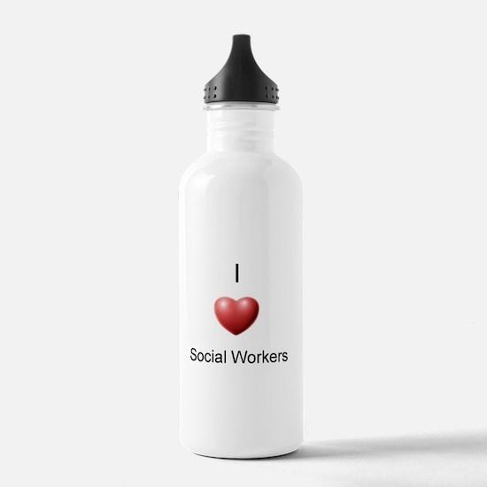 I Heart Social Workers Water Bottle