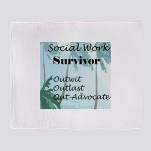 Social Work Survivor Throw Blanket