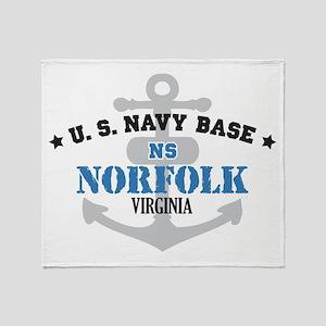 US Navy Norfolk Base Throw Blanket