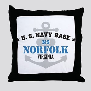 US Navy Norfolk Base Throw Pillow