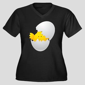 Little Chick Women's Plus Size V-Neck Dark T-Shirt