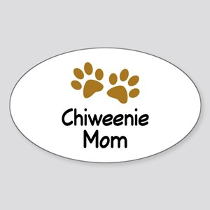 Cute Chiweenie Mom Sticker (Oval)