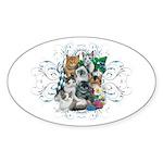 Cuddly Kittens Sticker (Oval)