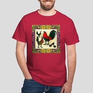 Flower Framed Gamefowl Dark T-Shirt