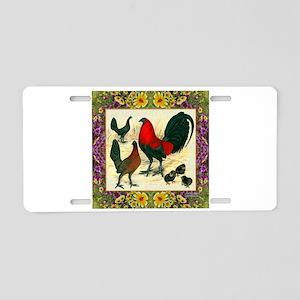 Flower Framed Gamefowl Aluminum License Plate