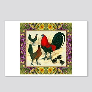 Flower Framed Gamefowl Postcards (Package of 8)