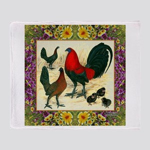 Flower Framed Gamefowl Throw Blanket