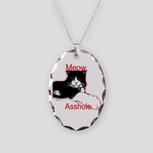 Meow, Asshole. Necklace Oval Charm