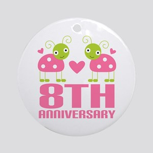 Eighth Anniversary Gift Ornament (Round)