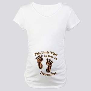 Tiger Print Due Date Designs Maternity T-Shirt