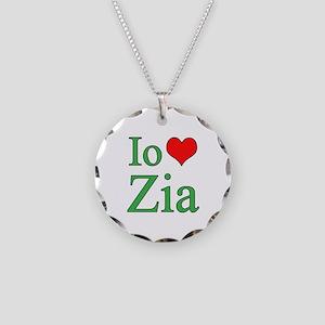 I Love Aunt (Italian) Necklace Circle Charm