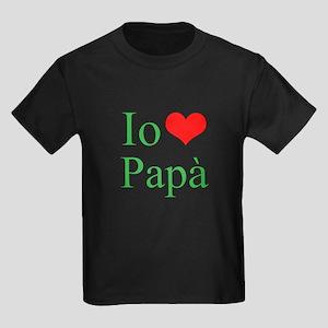 I Love Dad (Italian) Kids Dark T-Shirt