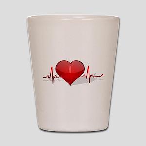 heart beat Shot Glass