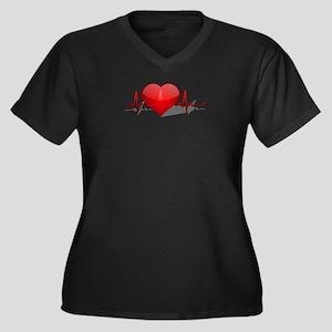 heart beat Women's Plus Size V-Neck Dark T-Shirt