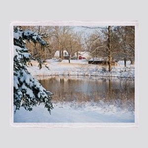 Tranquil Rural Snow Scene Throw Blanket